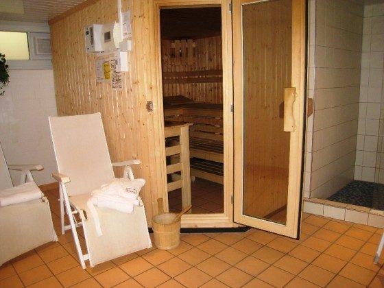 Sauna im Untergeschoss der Appartementanlage Godewind