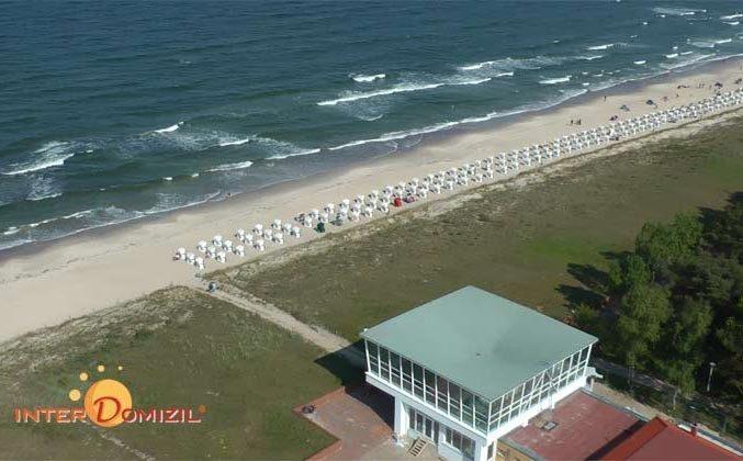 Blick auf den Mütherbau am Strand