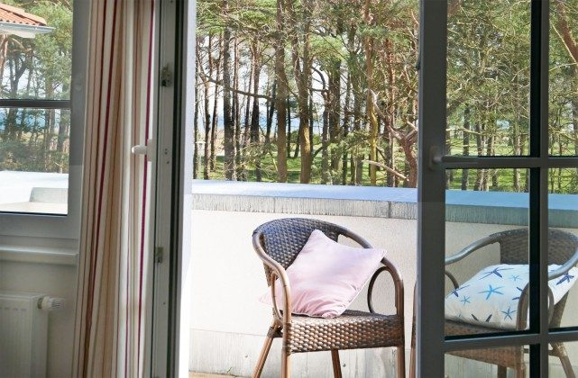 Balkon unten Ferienwohnung Baabe Leuchtturm Turmzimmer