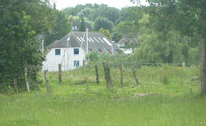 Blick auf Haus durch die Felder