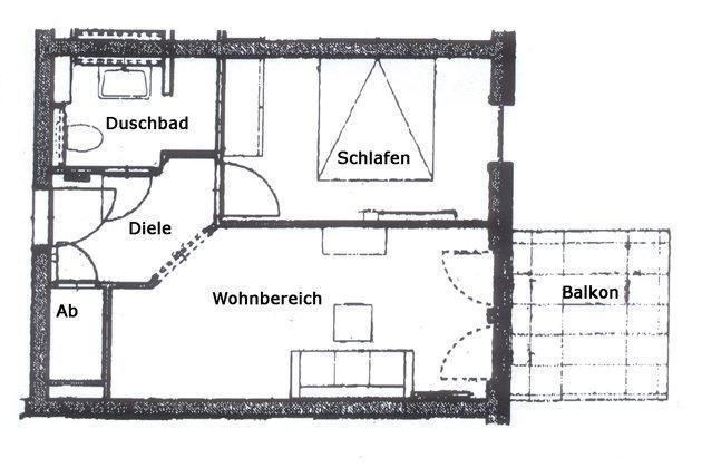 Grundriss Baabe Ferienwohnung Strandmuschel mit Meerblick Ref. 128669