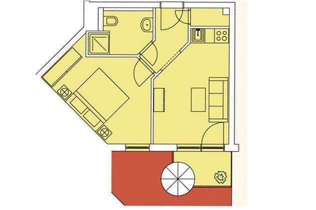 Grundriss Rügen Ferienwohnung Windlicht A 2.08 Ref. 128696