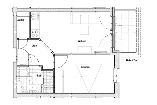 Grundriss Baabe Studio Lachmöwe mit Meerblick A 2.14 Ref. 128698-T