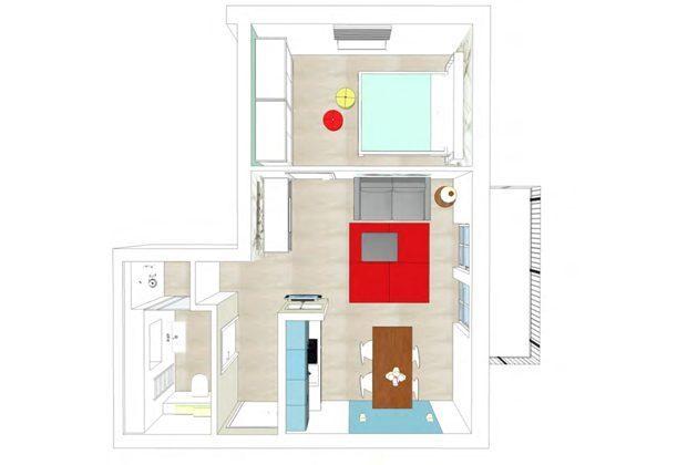 Grundrissmodell Ferienwohnung Aquamarin im Haus Meeresblick Baabe Ref. 128708-P