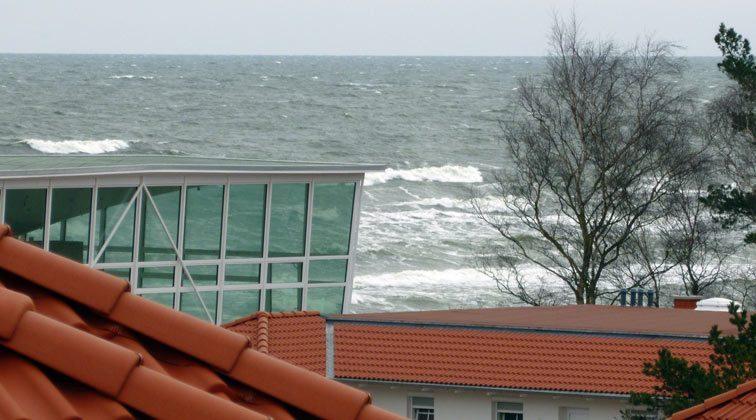 Blick vom Balkon Meeresblick Baabe auf Rügen