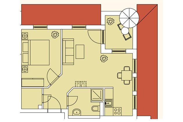 Grundriss Haus Meeresblick Baabe Fewo Südost A 4.05 Ref. 128720