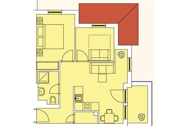 Grundriss Haus Meeresblick Baabe Fewo Strandkieker mit Meerblick A 2.17 Ref. 133366