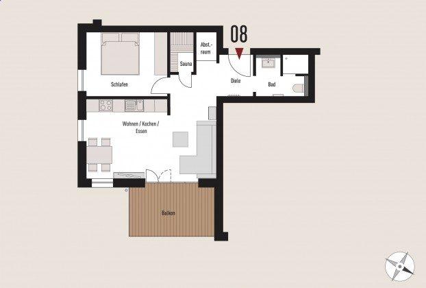Grundriss der Wohnung 8 Ref. 211408