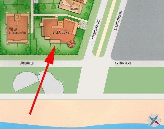 Lage der Wohnung Strandmuschel in der Villa Düne