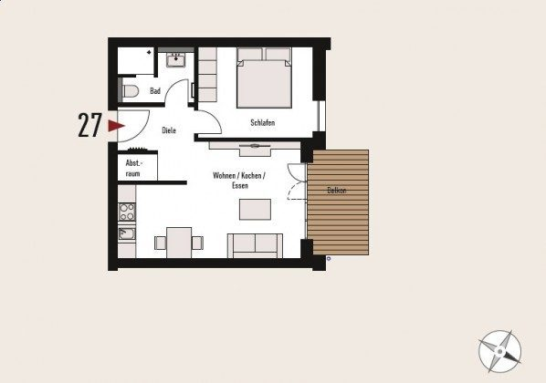 """Grundriss Appartement 27 """"Seeufer"""" Ref. 212614"""