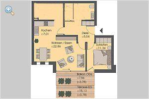 Grundriss Warnemünde Ferienwohnung Silbermöwe Ref: 42783-1