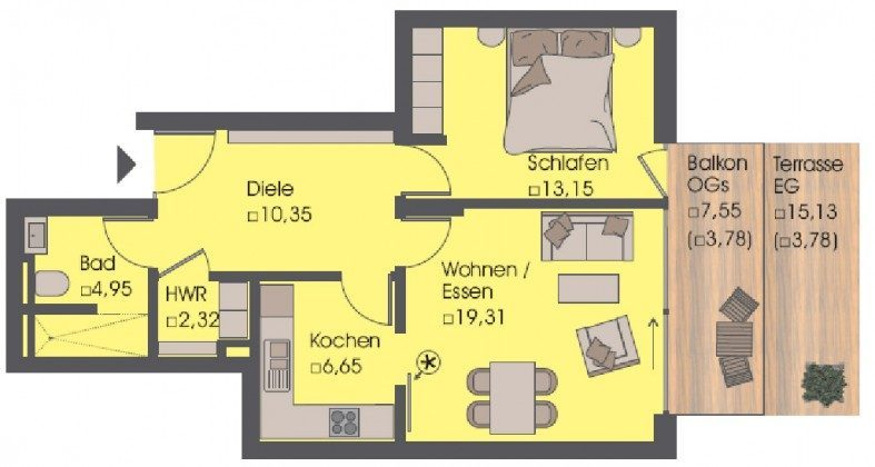 Grundriss - Ferienwohnung Ref. 52120 - Residenz im Kurpark