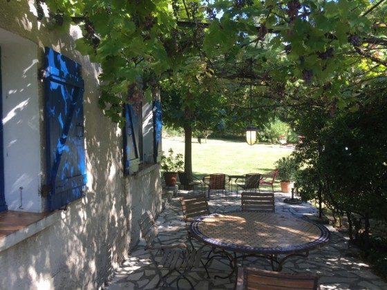 Essplatz unter Weintrauben