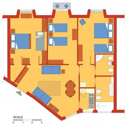 Rom Ferienwohnung Trastevere Ref: 108581-14 Grundriss
