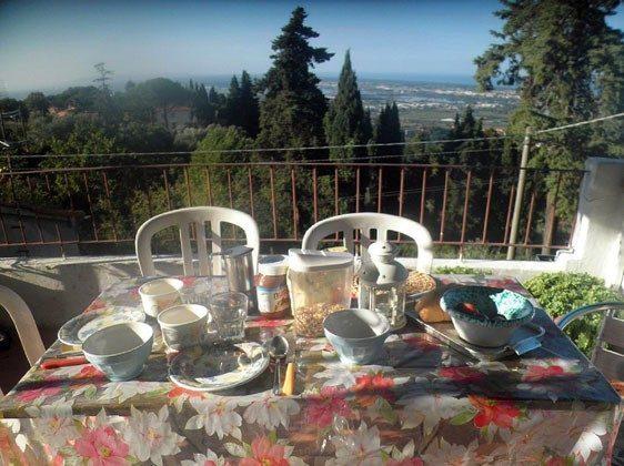 Frühstück auf der Terrasse mit Blick auf die Tirrenische Küste