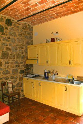 Ferienwohnung Rustico - Die Wohnküche mit Zutritt zum Garten
