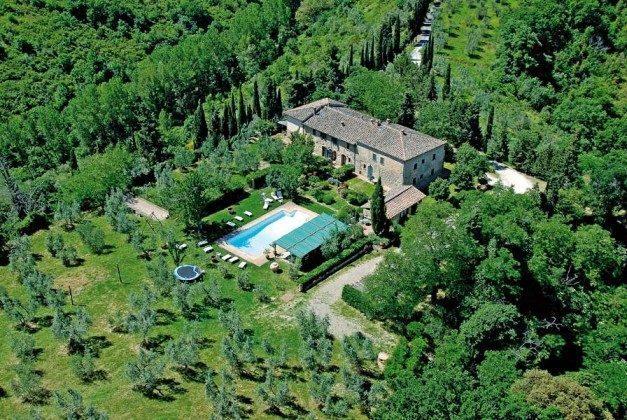 Blick auf das Landgut  Ferienhaus Malacarne bei Volterra