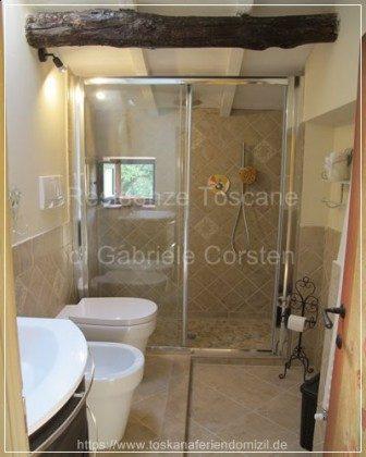 Sehr aufwendig renoviertes Badezimmer im Wellness-Stil. Sie duschen mit quelleigenem Wasser.