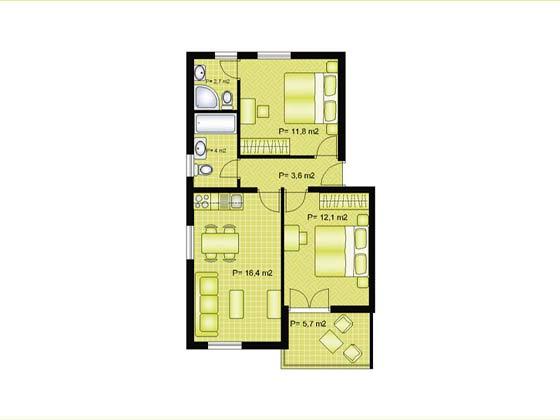 Grundriss der Apartments Beispiel - Objekt 138495-3