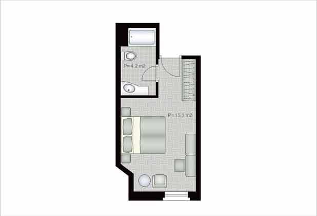 Grundriss Doppelzimmer - Objekt 138495-2