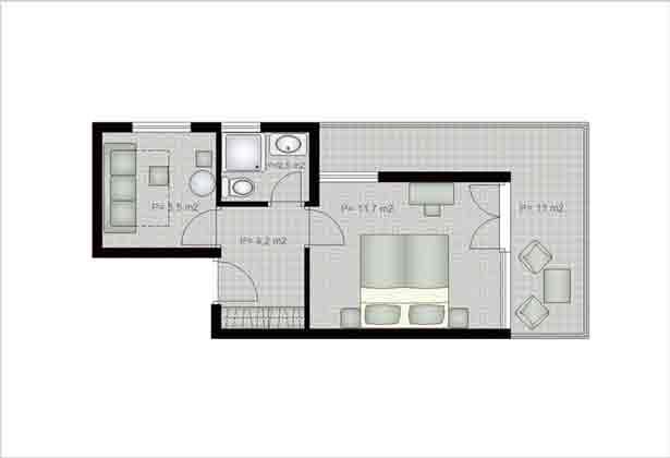 Aparthotel in Hvar Grundriss Suite