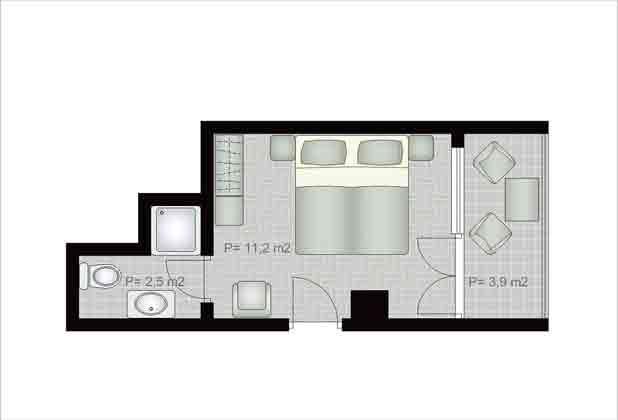 Aparthotel in Hvar Grundriss Einzelzimmer