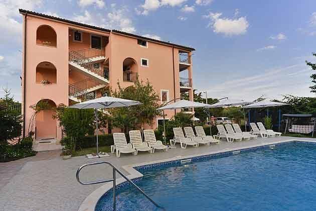 das Apartmenthaus und der Pool