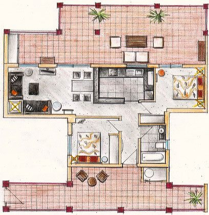 Grundriss des gesamten Apartments
