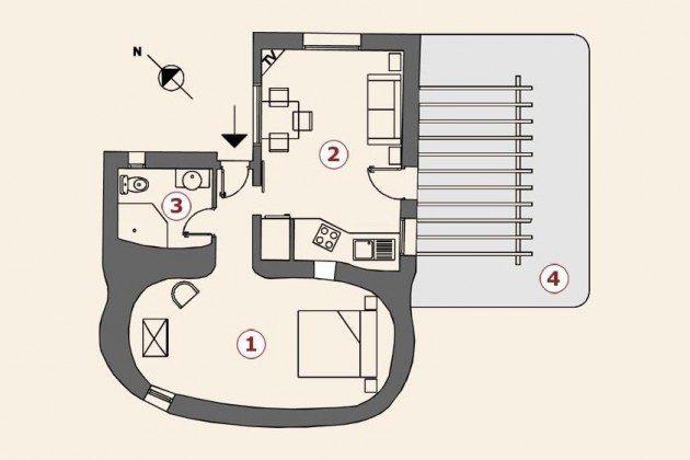 Grundriss, Wohnung 1