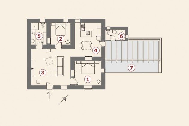 Grundriss, Wohnung 2, Casa Tipica