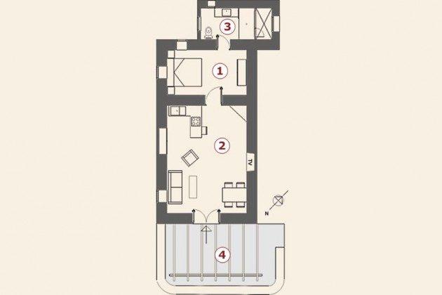 Grundriss, Wohnung 3 Hibiscus