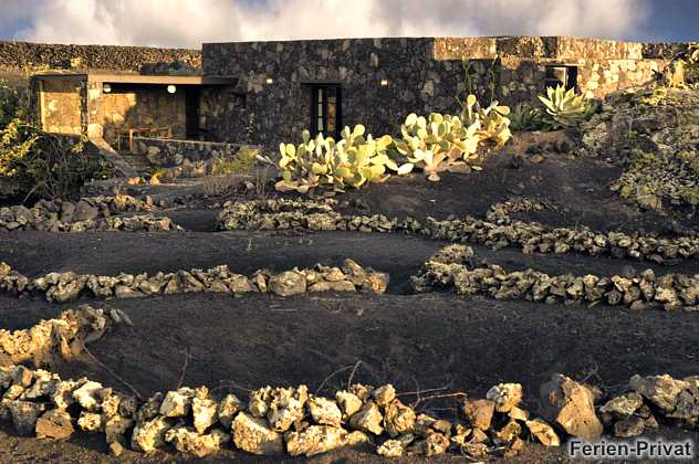 Lavagarten und überdachte Terrasse in der Sonne