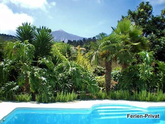 üppiger Garten am Pool